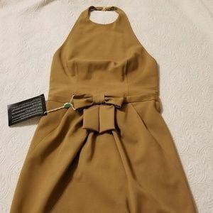 DSQUARED tan halter mini dress NWT